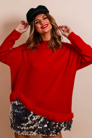 If Knit Makes You Happy - Jumper In RED