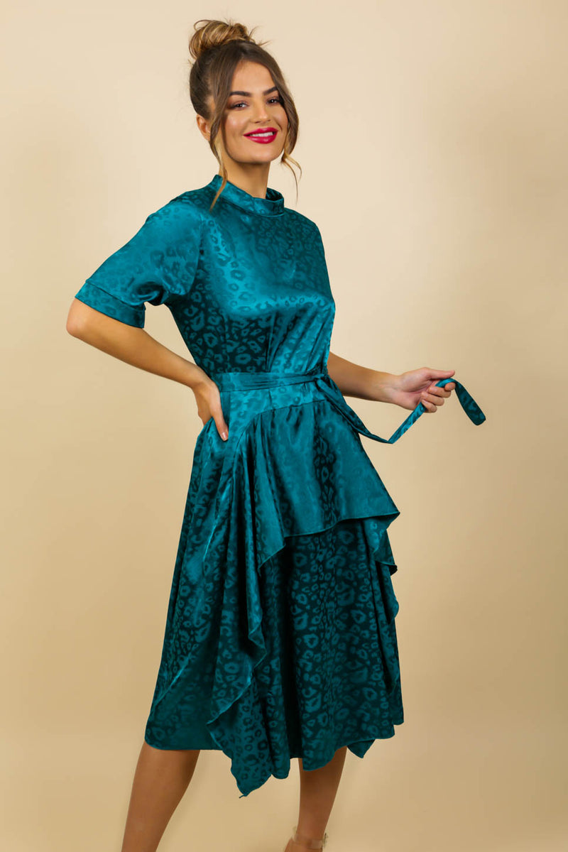 Afternoon Tea - Dress In TEAL/LEOPARD