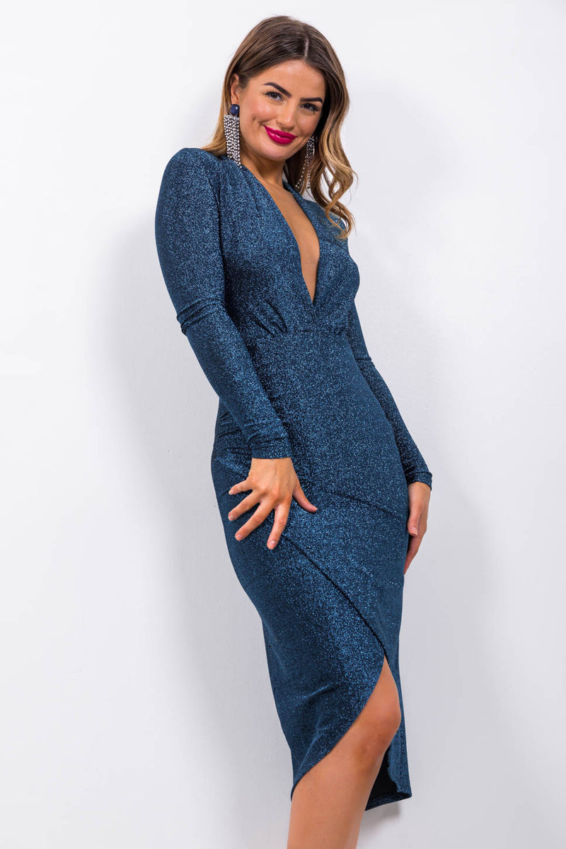 Primadonna - Midi Dress In BLUE/LUREX