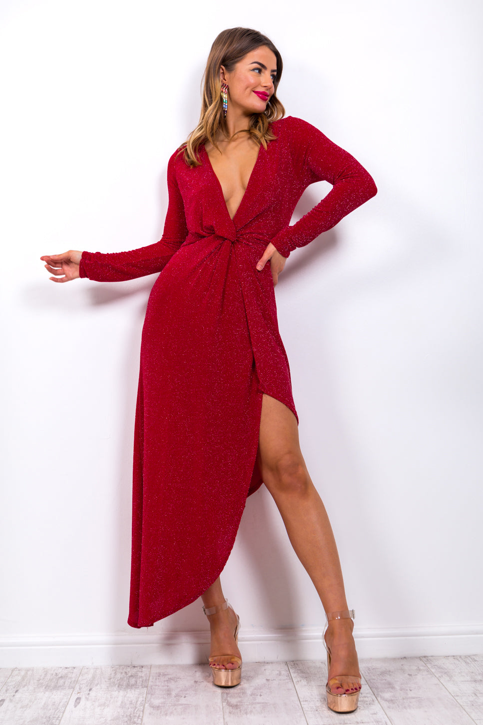 She's A Lady - Midi Dress In RED