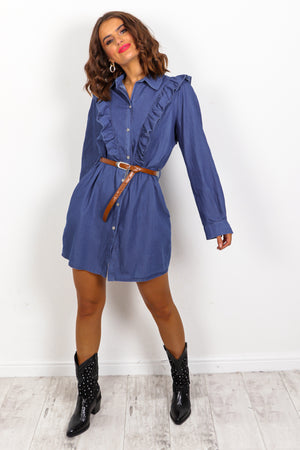 24 Denim - Blue Frilled Shirt Dress
