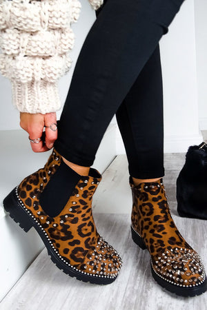 Bit Of An Animal - Leopard Print Studded Ankle Boots