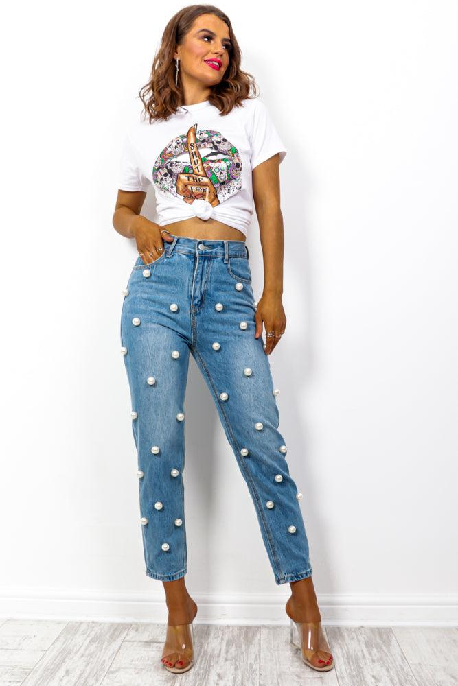 A Pearl Like Me - Blue Pearl Embroidered Denim Jeans