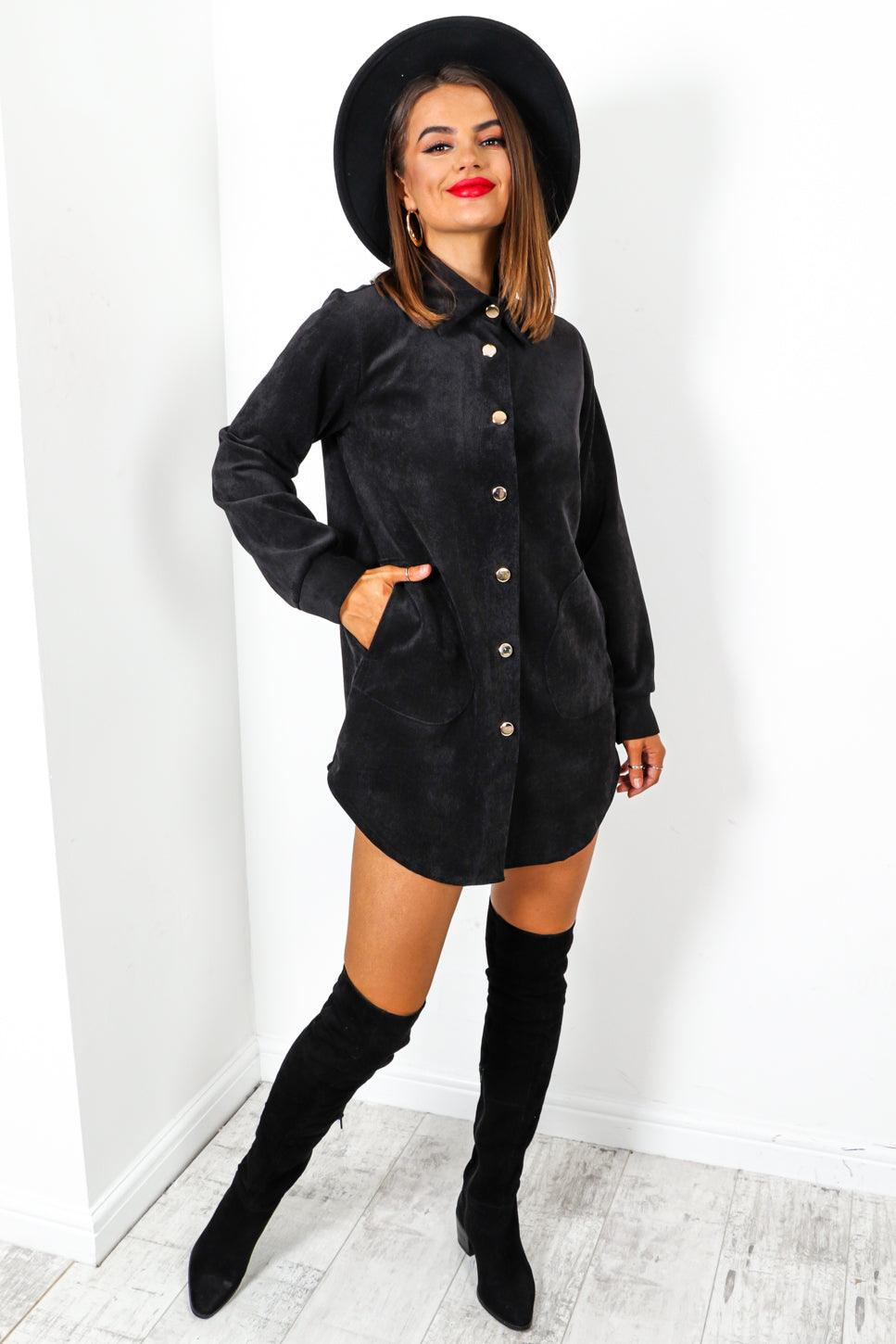 Ac-cord-ing To Plan - Black Gold Button Shirt Dress