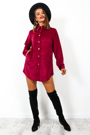 Ac-cord-ing To Plan - Wine Gold Button Shirt Dress