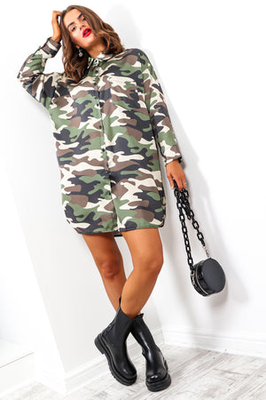 Adventurous - Khaki Camouflage Shirt Dress