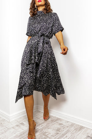 Afternoon Tea - Black White Print Midi Dress