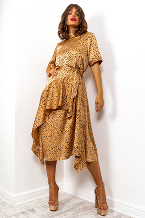 Afternoon Tea - Camel Black Print Midi Dress