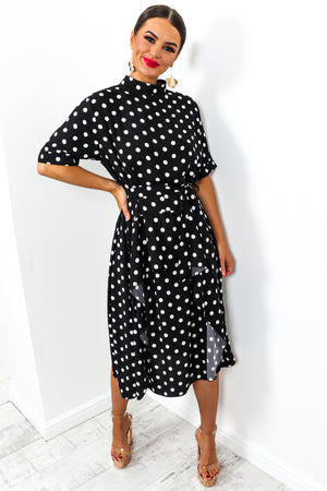 Afternoon Tea - Dress In BLACK/POLKA-DOT