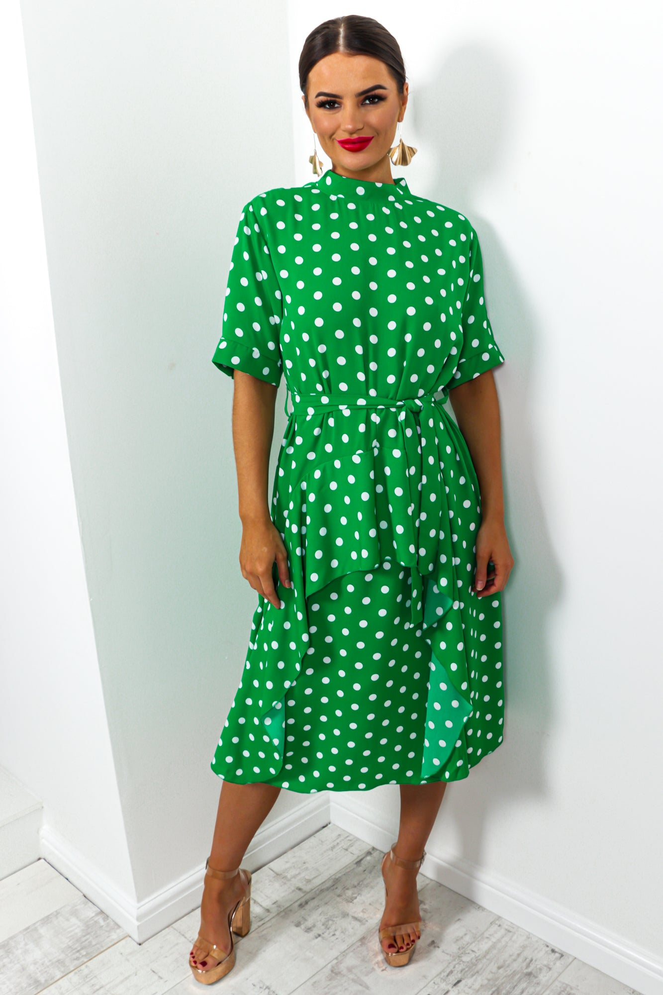 Afternoon Tea - Dress In GREEN/POLKA-DOT