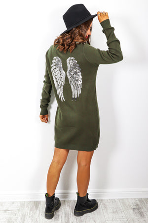 Aint No Angel - Khaki Knitted Jumper Dress