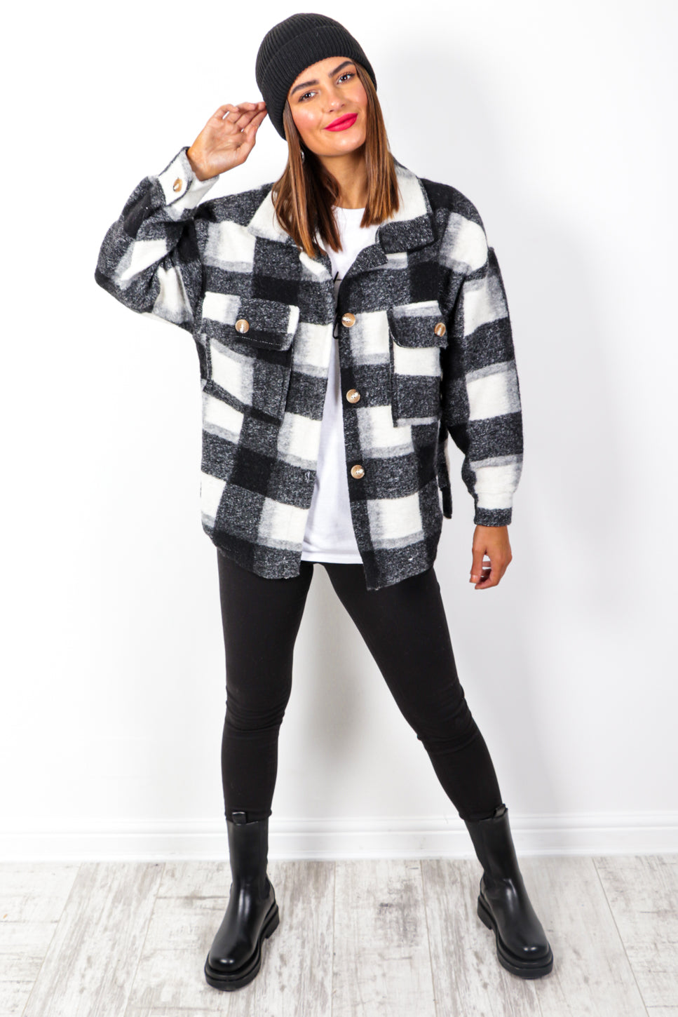 All Checked In - Black White Check Shacket