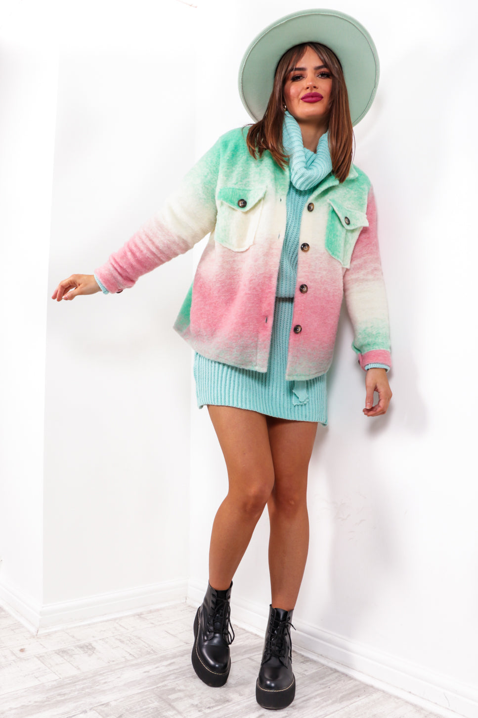 All Checked In - Mint Pink Ombre Check Shacket