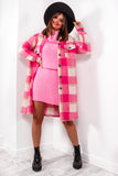 All Checked In - Pink Check Long Shacket