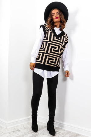 All Knitted Up - Beige Black Knitted Vest