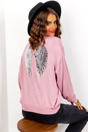 Angelic - Blush Silver Sequin Knitted Jumper