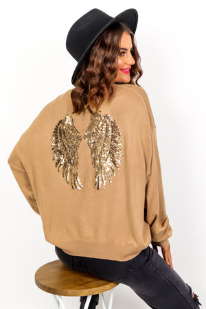 Angelic - Camel Gold Sequin Knitted Jumper