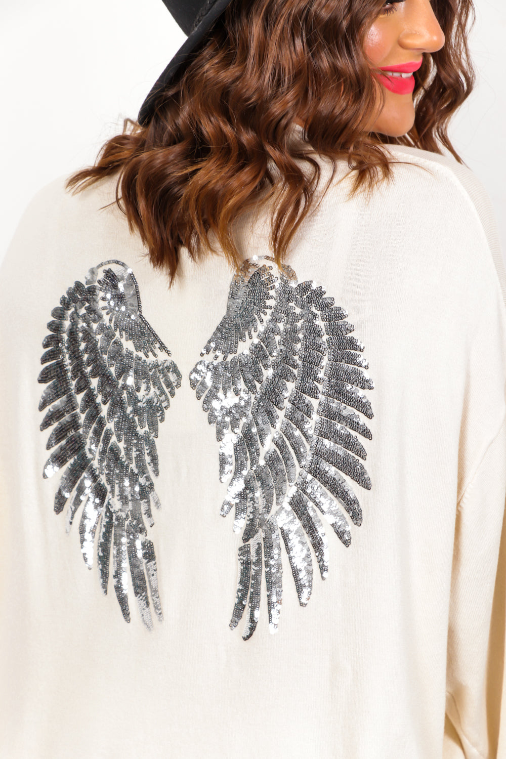 Angelic - Cream Silver Sequin Knitted Jumper