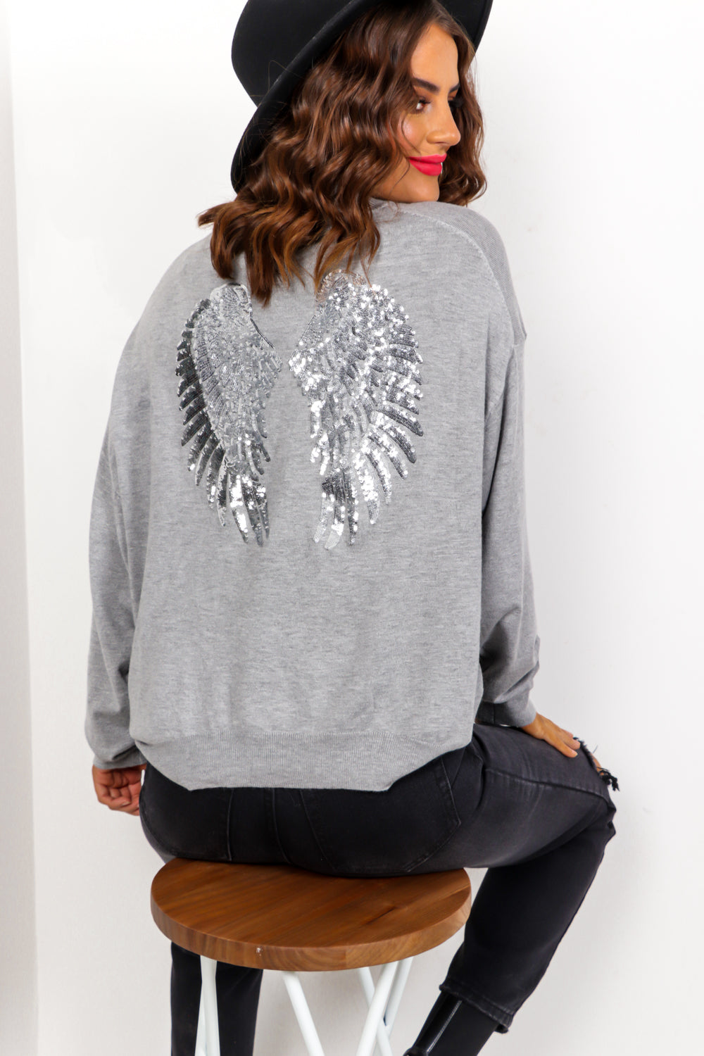 Angelic - Grey Silver Sequin Knitted Jumper
