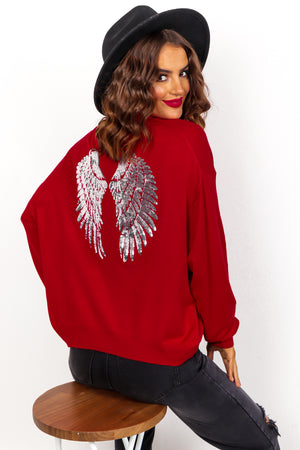 Angelic - Red Silver Sequin Knitted Jumper