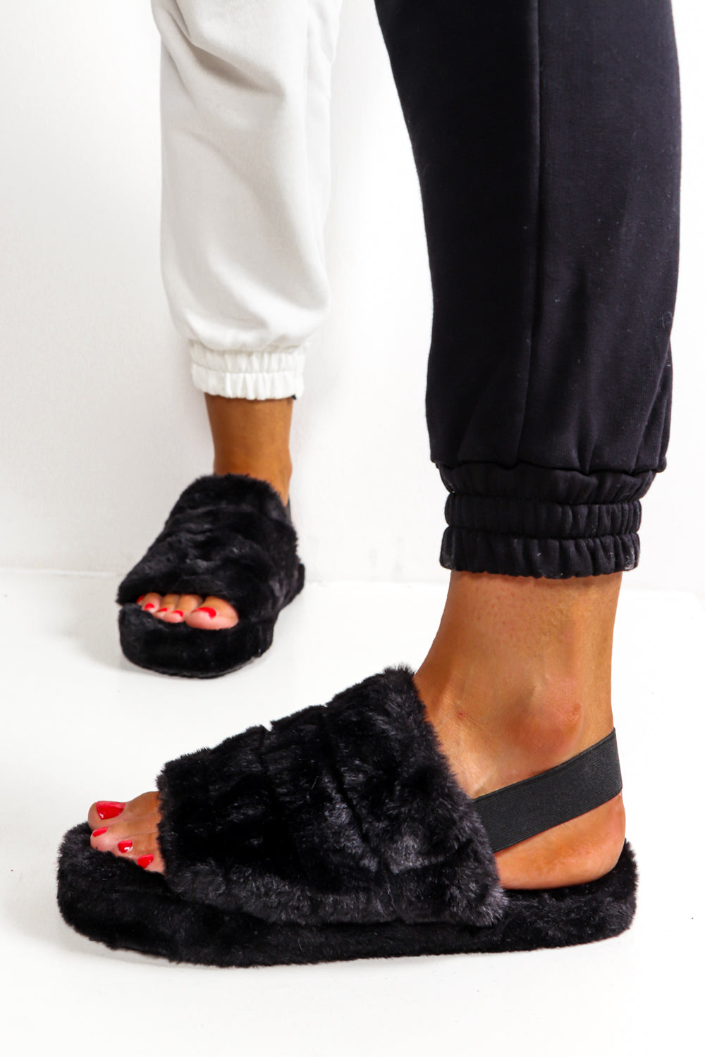 Are You Fur Real Black Slip On Sliders