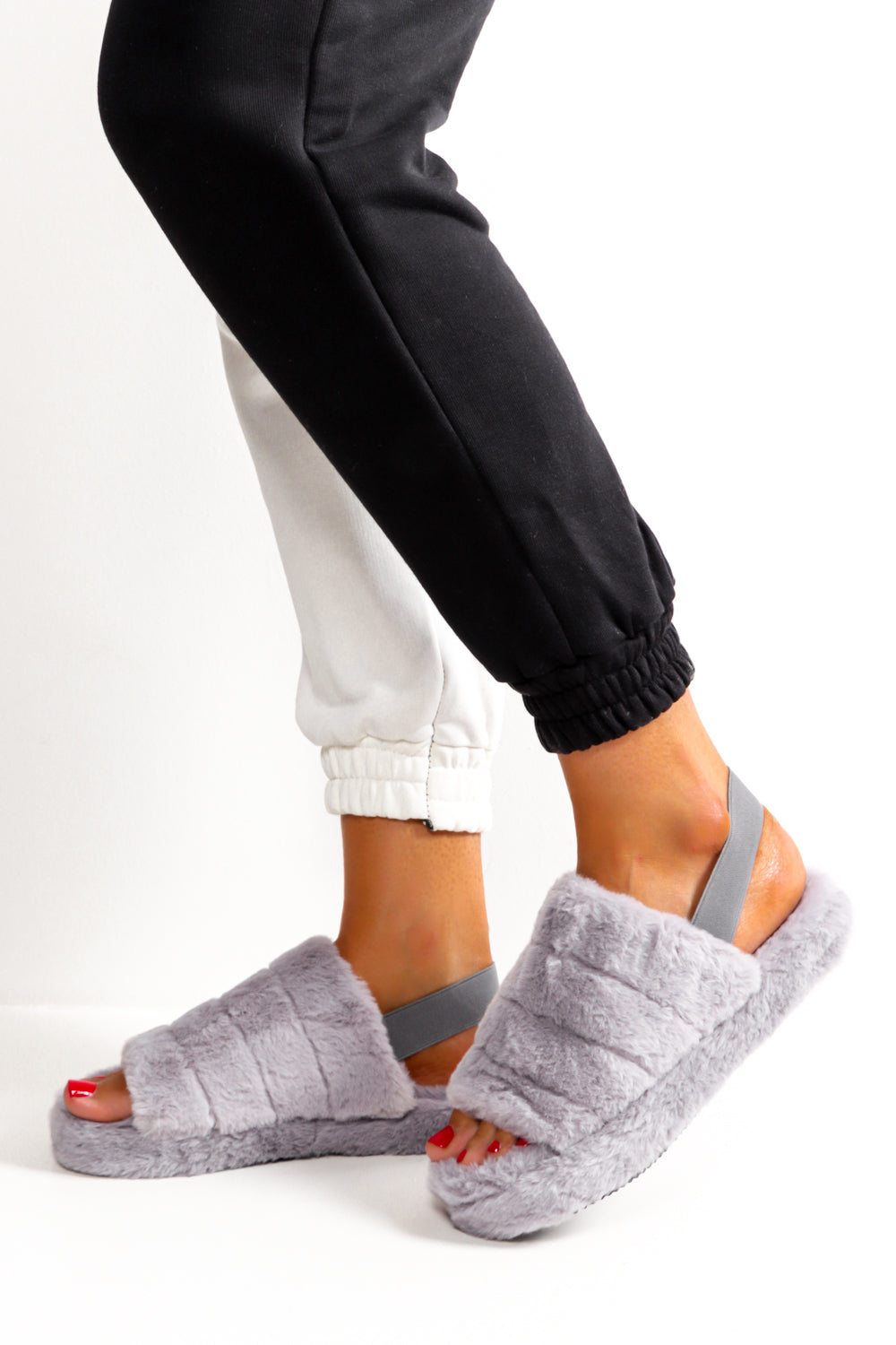 Are You Fur Real Grey Slip On Sliders