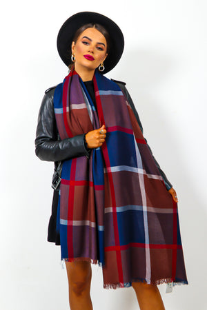 Autumn Perfection - Navy Checked Scarf