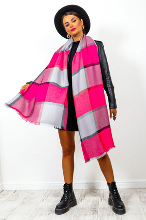 Autumn Perfection - Pink Checked Scarf