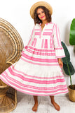 Midi Aztec Linen Dress Pink- DLSB Womens Fashion