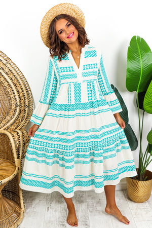 Midi Aztec Linen Dress Turquoise - DLSB Womens Fashion
