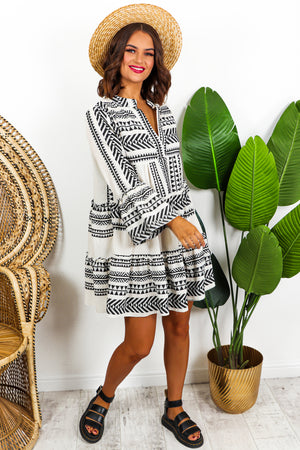 Aztec Mini Linen Dress Black- DLSB Womens Fashion