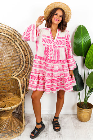 Aztec Mini Linen Dress Pink- DLSB Womens Fashion