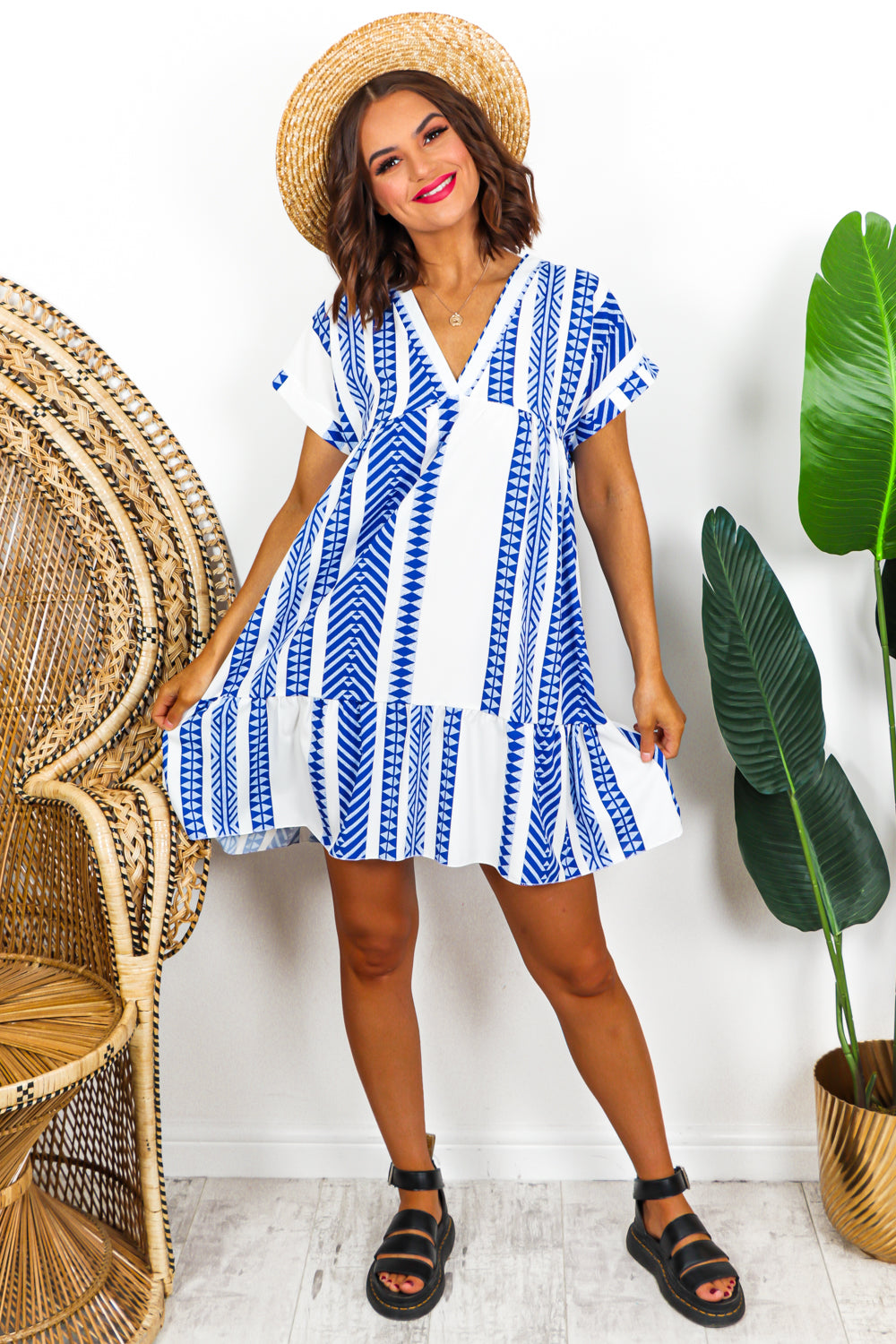 Aztec Midi Dress Blue- DLSB Womens Fashion