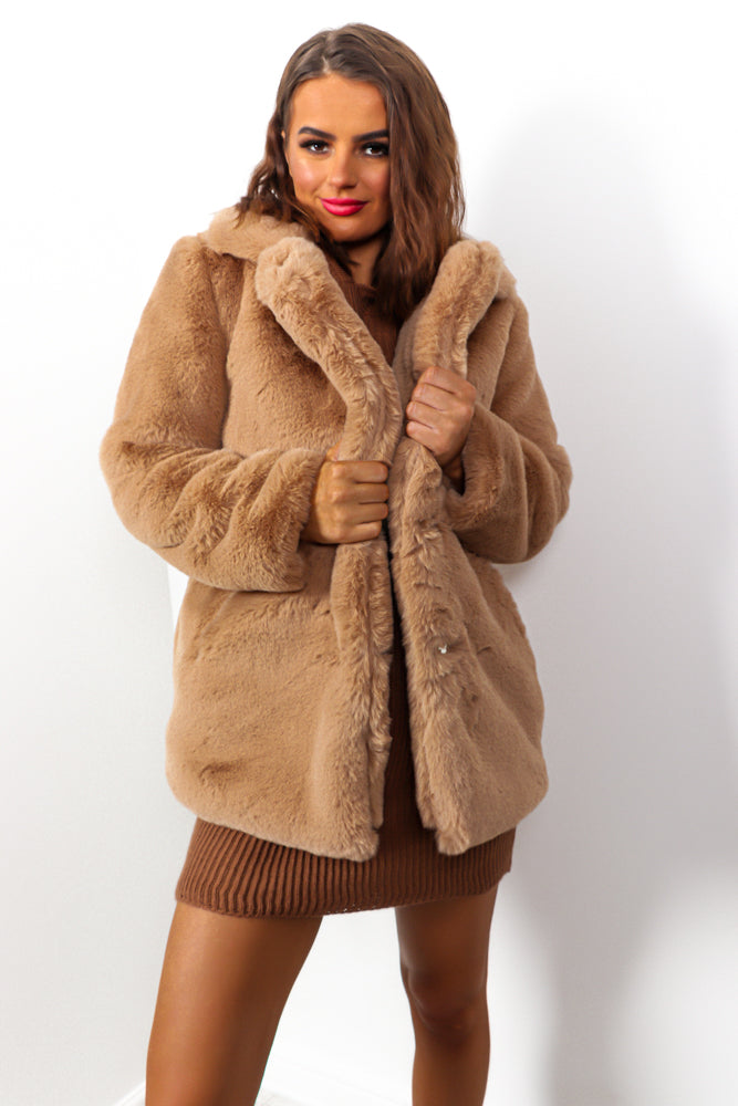 Baby Its Cold Outside - Camel Faux Fur Coat