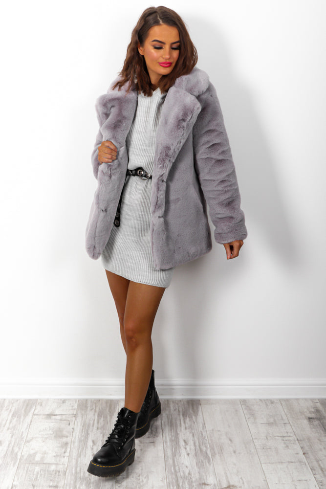 Baby Its Cold Outside - Grey Faux Fur Coat