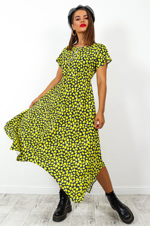 Back At It - Black Yellow Print Midi Dress