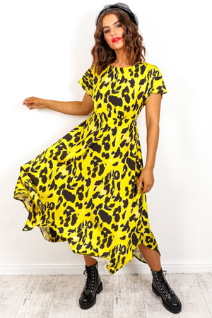 Back At It - Yellow Leopard Print Midi Dress