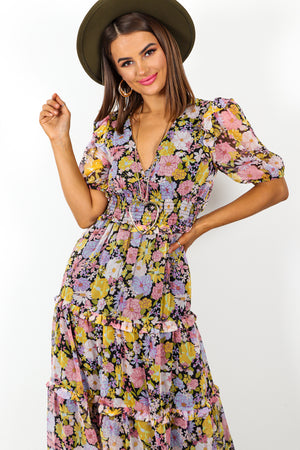 Back For Good - Multi Coloured Floral Print Midi Dress