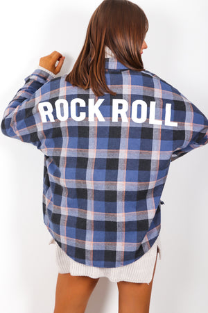Bad To The Bone - Blue Check Slogan Shirt