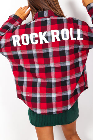 Bad To The Bone - Red Check Slogan Shirt