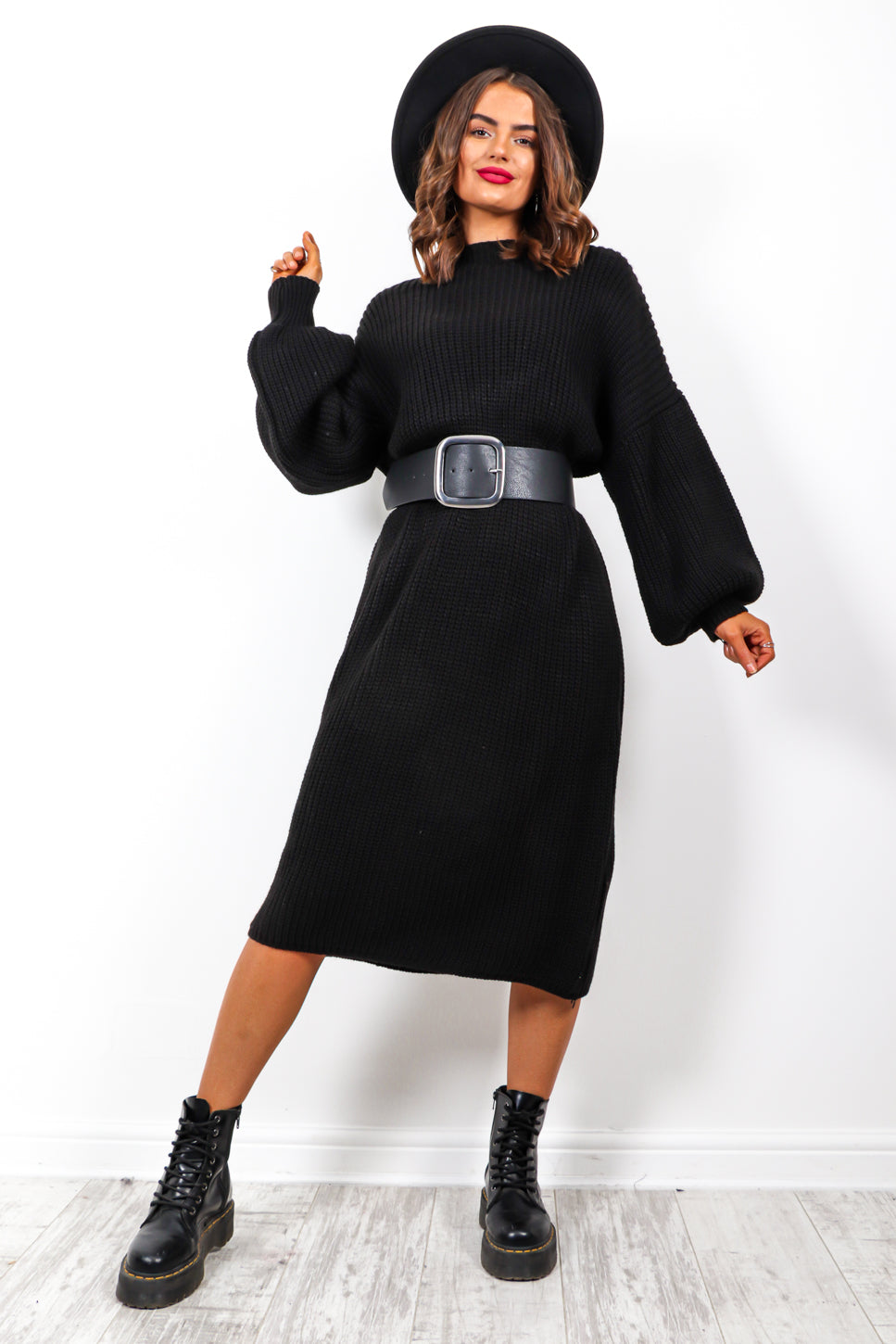 Be Home For Winter - Black Knitted Dress