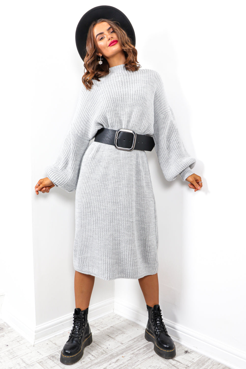 Be Home For Winter - Grey Knitted Dress