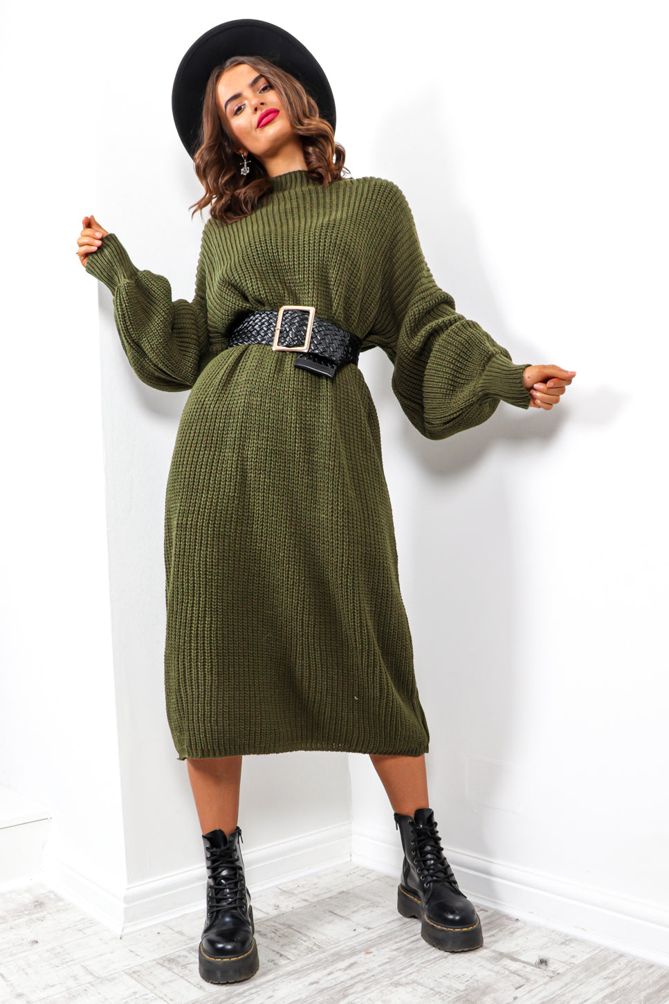 Be Home For Winter - Khaki Knitted Dress