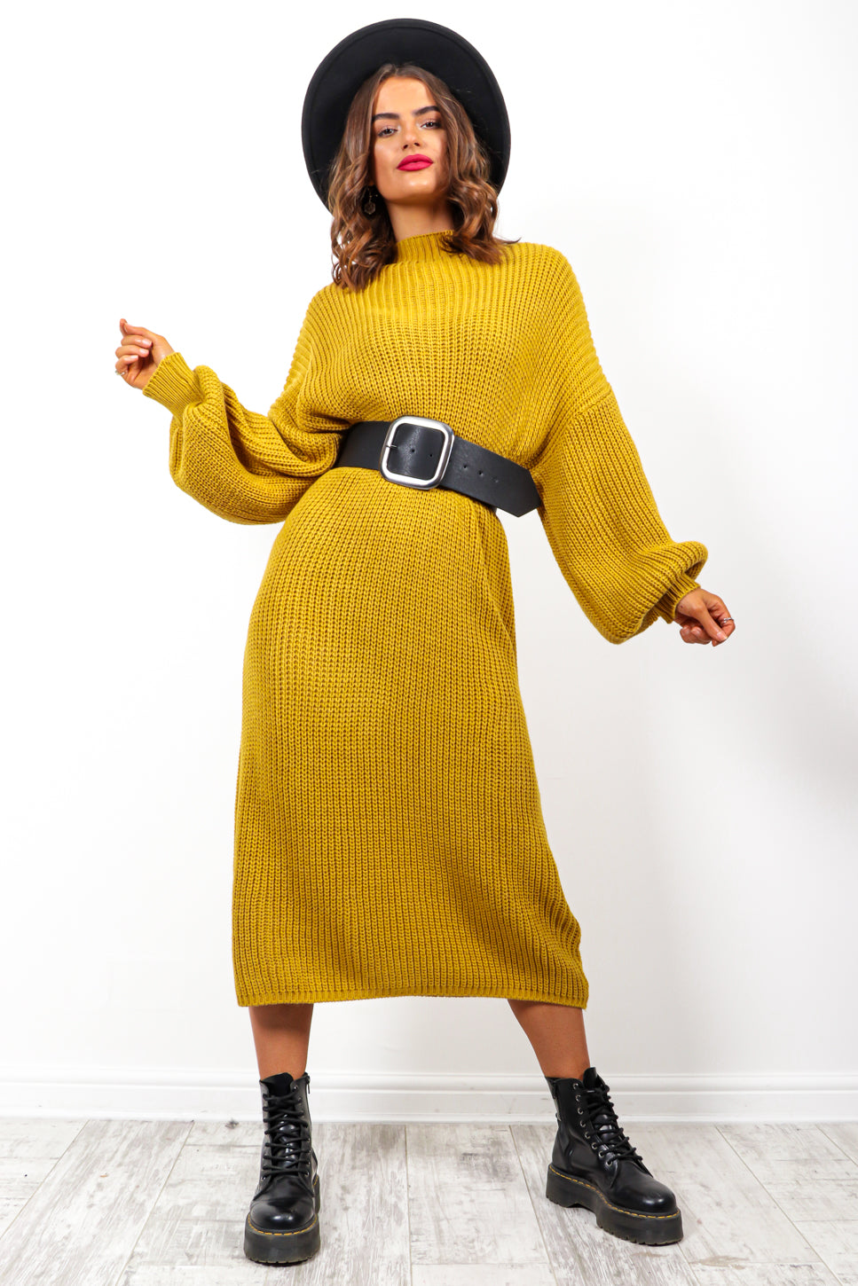 Be Home For Winter - Mustard Knitted Dress