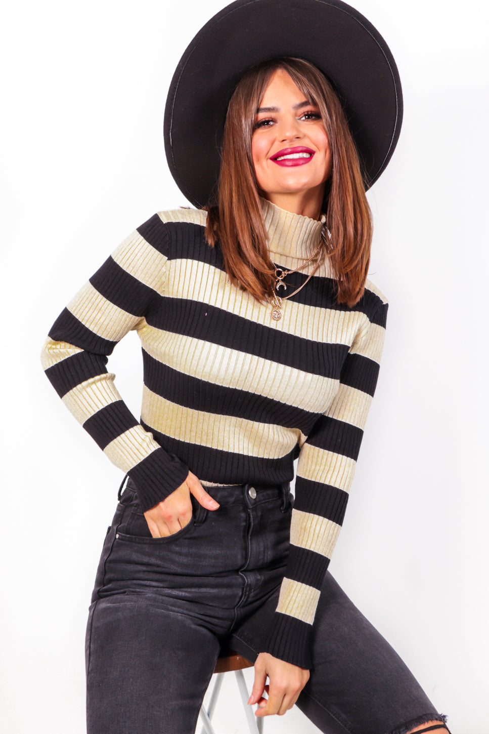 Be Stripe Back - Black Beige Ribbed Knit Top