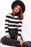 Be Stripe Back - Black White Ribbed Knit Top