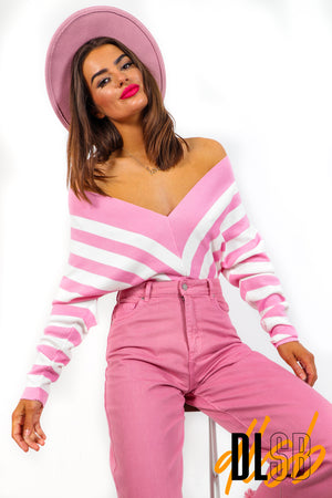 Beauty Call - Pink White Striped Jumper