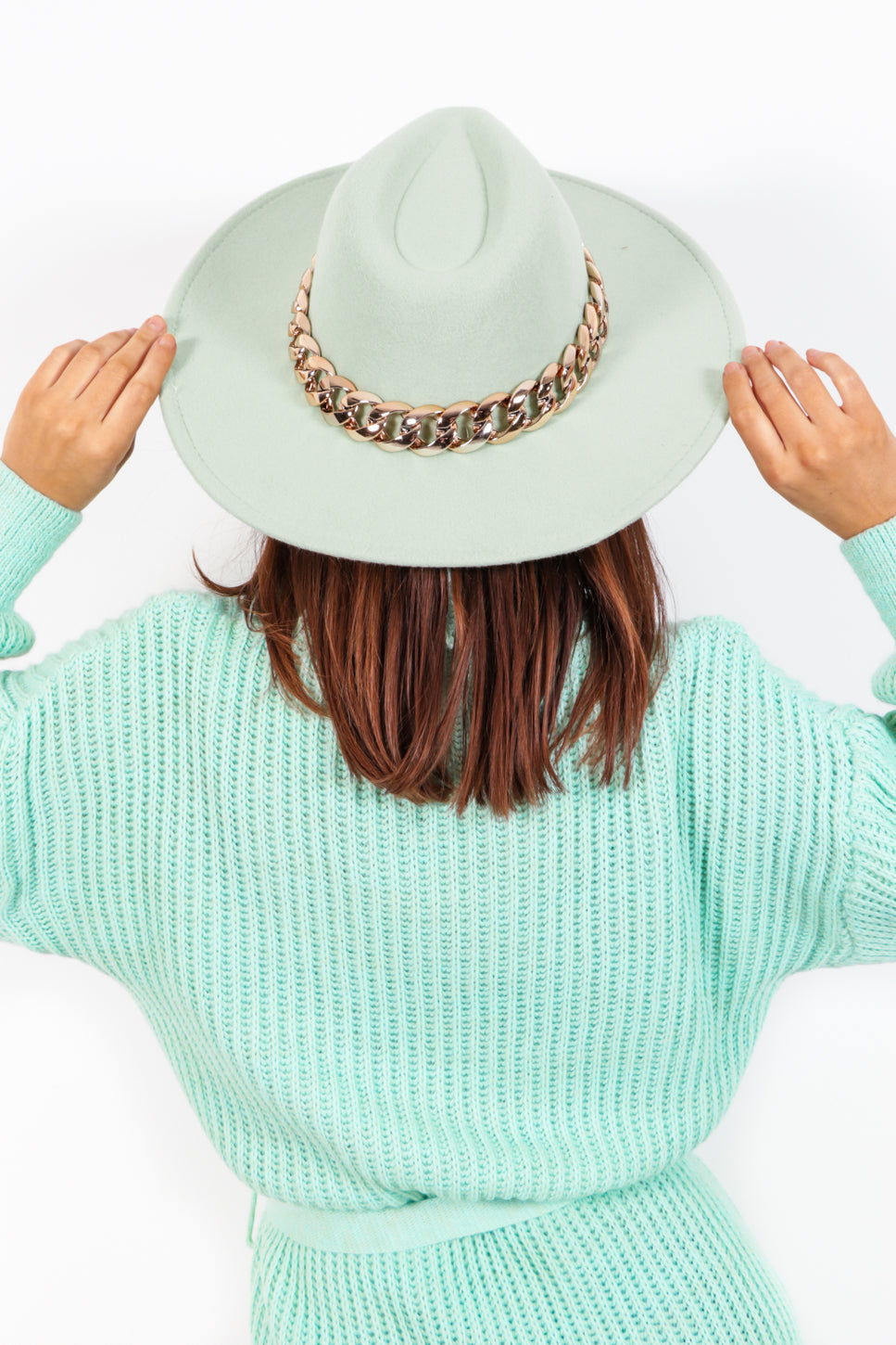 Been There Done Hat - Mint Gold Chain Fedora