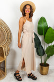 Beige Split Leg Jumpsuit DLSB Womens Fashion