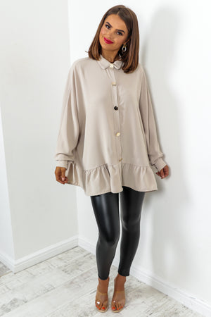 Beige Blouse With Gold Buttons